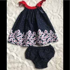 Baby Gap Navy and red floral dress with bloomers